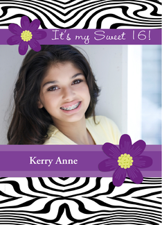 Sweet 16 Birthday Party Photo Card Invitation Zebra Print Purple Daisy Greeting Card