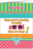 Niece Summer Camp Thinking About You Fun Cool Colors and Sunglasses card