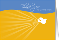 Thank You for Sympathy Donation with Flying Dove on Blue and Yellow card