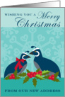 New Address Christmas Announcement with Two Blue Quail Birds and Holly card