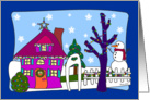 Funky Little House Christmas card