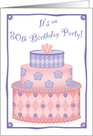 Whimsical Cake 80th Birthday Invitation card
