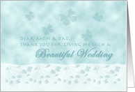 Aqua Butterfly Thank You Mom & Dad card