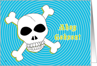 Godson Birthday Pirate Skull Crosbbones card