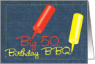 Birthday 50 BBQ Invitations Party Denim Invites card