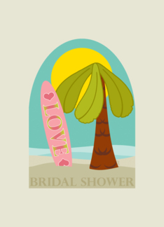 Beach Party Bridal Shower Invitation with Palm Tree and Surfboard Greeting Card
