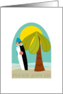 Cute Beach Wedding Invitation Palm and Surfboard card