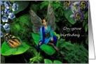 Happy Birthday Wishes Fairy Peacock Garden Card