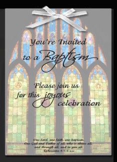 Baptism Invitation - Stain Glass Greeting Card