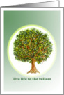 live life to the fullest, organic tree drawing card