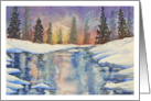 Aurora Borealis,watercolor art,snow scene card