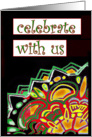 Celebrate With Us, Cinco de Mayo, abstract Mexican-Style art card