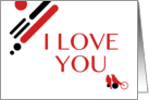 i love you : mod birds card