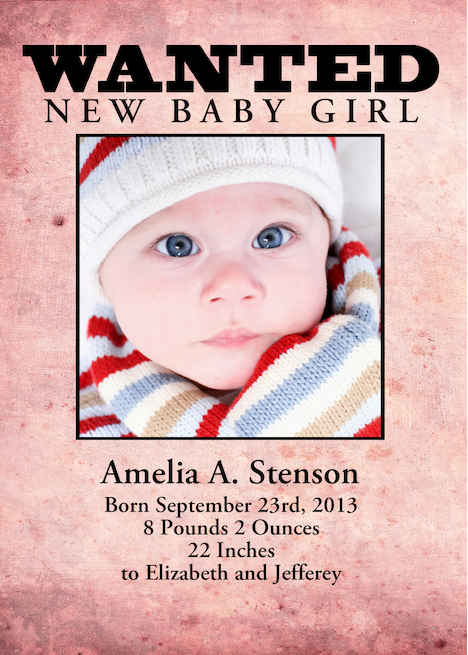 Buy e greeting card templates gifts - Wanted Poster New Baby Announcement Template card