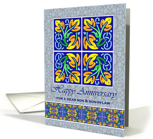 Anniversary for Son & Son-in-Law, Art Nouveau Leaf Tiles