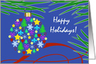 Happy Holidays, Christmas Ornament, Holiday Symbols & Pine Needles card