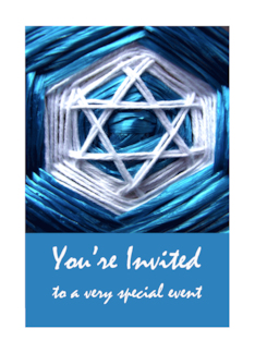 Bar Mitzvah Invitation, Star of David Ribbon & String Design Greeting Card