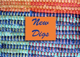 Weve Moved Announcement, New Digs, Rag Rug in Bright Colors Greeting Card