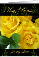 Birthday for Partner, Yellow Roses card