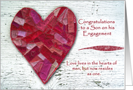 Congratulations on Gay Son's Engagement, Stitched Heart card