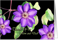 Thank You to Parents Greeting Card, Purple Clematis card