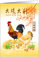 Chinese New Year of the Rooster. a whole chicken family in the spring card