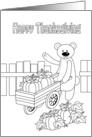 happy thanksgiving, bear coloring card
