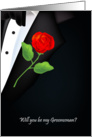 will you be my groomsman, red rose card
