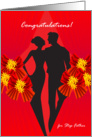 congratulations for step father, couple, ribbon card