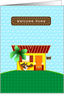 Welcome Home, brown bear, summer camp card