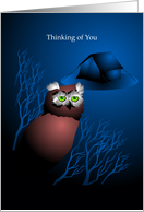 thinking of you, owl, summer camp card