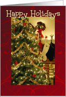 Happy Holidays, Christmas tree & stockings card
