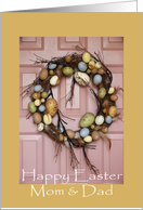Easter, Mom & Dad, egg wreath card