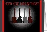14th Birthday, 4 guitars card