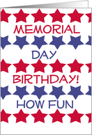 Memorial Day Birthday, red & blue stars on white & white card