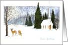 Deer and church card