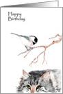 Cat and Chickadee Birthday card