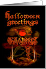 Gothic Taurus Halloween, Orange & Gold card