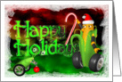 Happy Holidays, Candy cane & robot corn & pea pod card