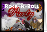 Rock-n-roll chickens play guitars and sing card