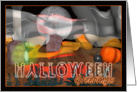 Halloween party invitation from graveyard ghost card
