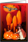 Witches,bats and pumpkins send Halloween greetings card