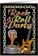 Rock & Roll Party invite guitar snake- blank card