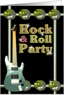 Rock & Roll Party invite guitar yin-yang- blank card