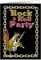 Rock & Roll Party invite guitar rooster - blank card