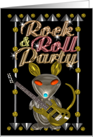 Rock & Roll Party invite chrome rat with guitar - blank card