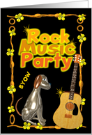 Rock & Roll Party invite chrome dog with guitar - blank card