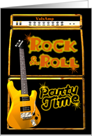 Rock & Roll Party time invite with guitar card