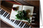 Piano and Rose-Valentine for Musicians card