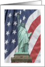 Patriotic Statue of Liberty with Flag card